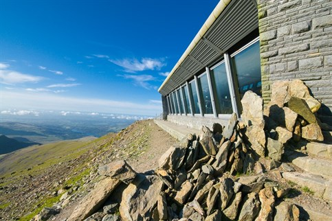 Snowdon summit, the highest point in England and Wales